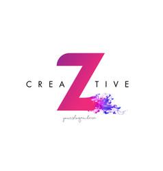 Z letter logo design with ink cloud flowing vector