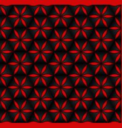 Floral seamless pattern red 3d volumetric flowers vector