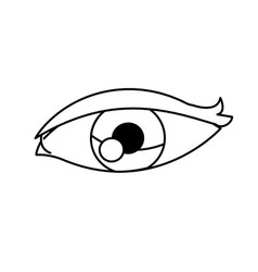 Cartoon eye vision optic outline vector