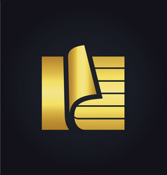 Paper document data storage gold logo vector