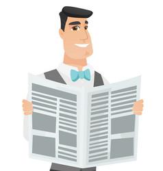 Young caucasian groom reading newspaper vector