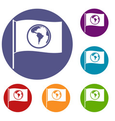 Flag with world planet icons set vector