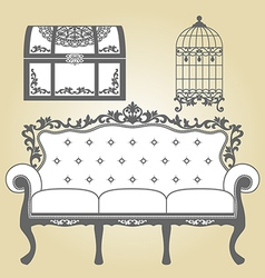 Vintage sofa vintage bird cage and vintage trunk vector