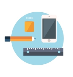 Smartphone and office supplies vector