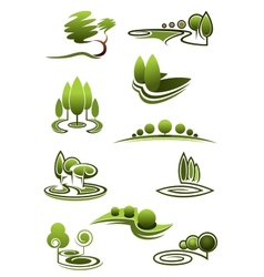 Green trees in landscapes icons vector