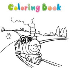 Train coloring page cartoon vector