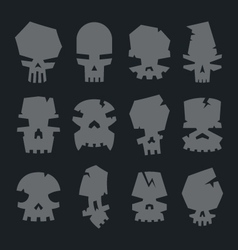 Set of scary monsters skull characters vector