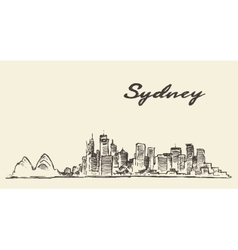 Sydney skyline vintage drawn sketch vector