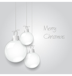 Shiny white christmas decoration baubles hanging vector