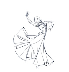 Ink sketch gesture drawing of dancer vector