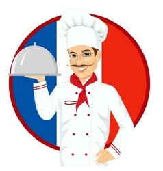 French cuisine chef holding a silver tray vector