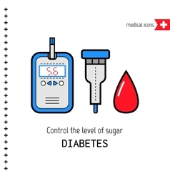 Diabetes medical flat icons check the level of vector