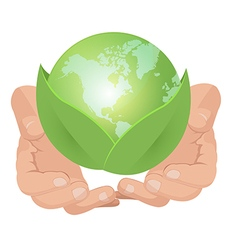 Hand hold green earth leaf vector