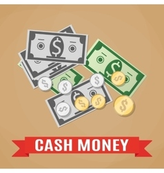 Cash Green Dollars and Coins vector image