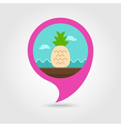 Pineapple pin map icon summer vacation vector