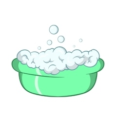 Green baby bath with foam icon cartoon style vector