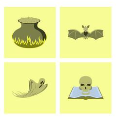 assembly flat potion cauldron bat ghost book skull vector image vector image