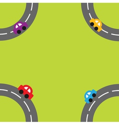 Background with roads and cartoon cars in the corn vector