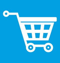Basket on wheels icon white vector