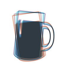 Beer glass sign colorful icon shaked with vector