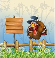 Cartoon turkey signboard vector