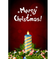 Christmas card with decorations and candle vector