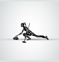 Curling athlete isolated silhouette woman vector