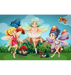 Fairies flying in the garden with butterflies vector
