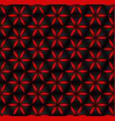floral seamless pattern red 3d volumetric flowers vector image vector image