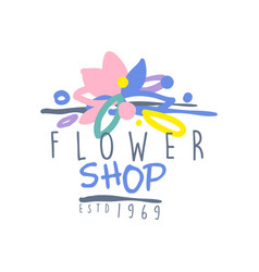 Flower shop estd 1969 logo template colorful hand vector
