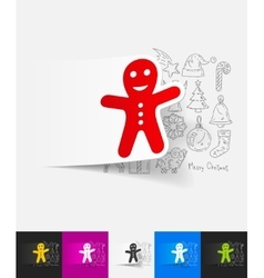 Gingerbread man paper sticker with hand drawn vector
