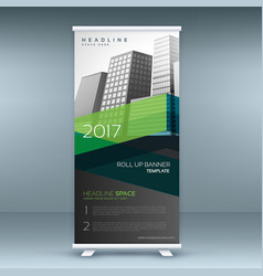 Green and black business standee roll up banner vector