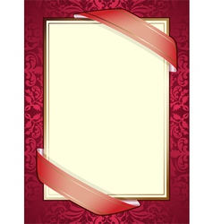 invitation with ribbons on red background vector image vector image