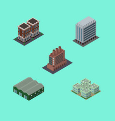 Isometric construction set of house office vector