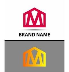 Letter M logo real estate symbol vector image vector image