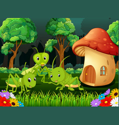 Many grasshopper and a mushroom house in forest vector