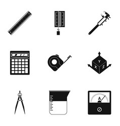 Measurement icon set simple style vector