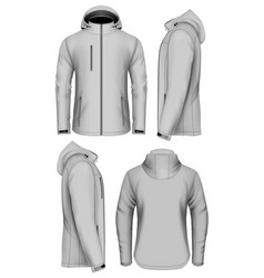 Men softshell jacket with hood vector