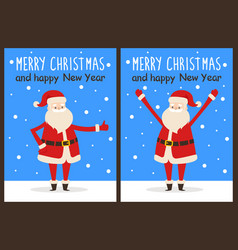 Merry christmas and happy new year santa congrats vector