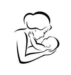 mother and baby stylized symbol vector image