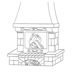 Object coloring a brick fireplace burns a vector