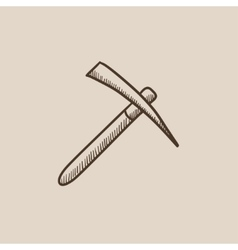 Pickax sketch icon vector