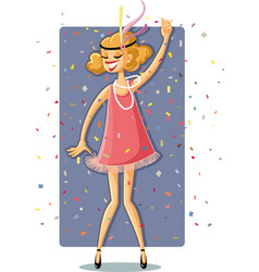 Retro flapper party girl from the roaring 20s vector