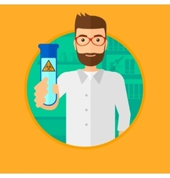 Scientist with test tube vector image vector image