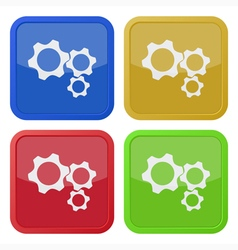 set of four square icons with three cogwheel vector image vector image