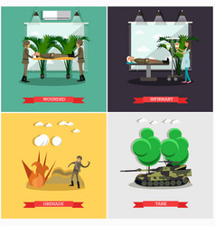 Set of military posters in flat style vector