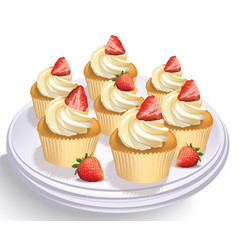 Strawberry cupcakes on a white table summer vector