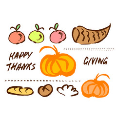 Thanksgiving doodle set vector