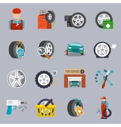 Tire service icon flat vector