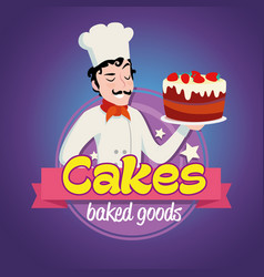 Vintage logo smiling man in a cook cap with cake vector